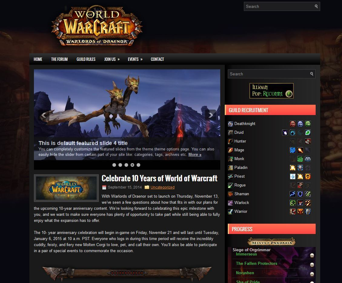 guild website you can get a live view of the template in action at