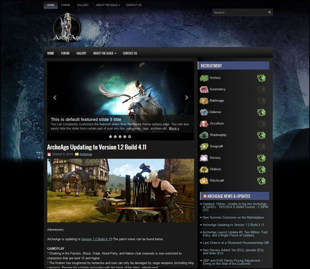 ArcheAge-wordpress-Theme
