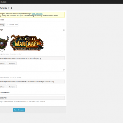 druidwarlords theme options world of warcraft guild templates