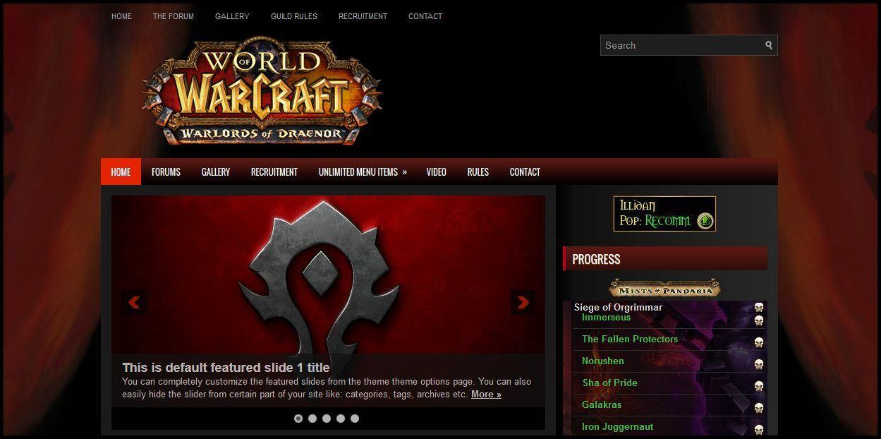World of Warcraft Wordpress Templates