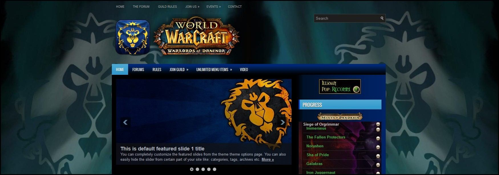 the perfect world of warcraft warlords alliance template