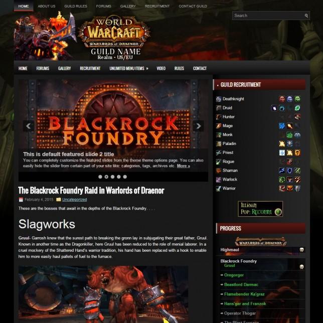 Blackrock World of Warcraft wordpress theme