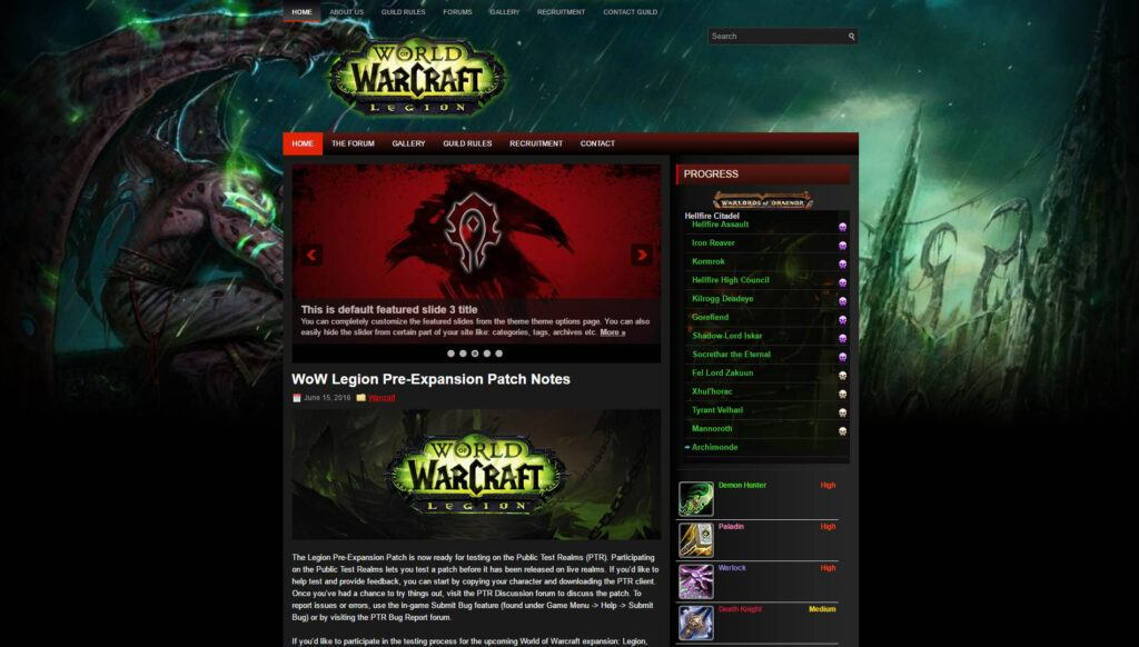 to the theme to help you make the best world of warcraft guild site