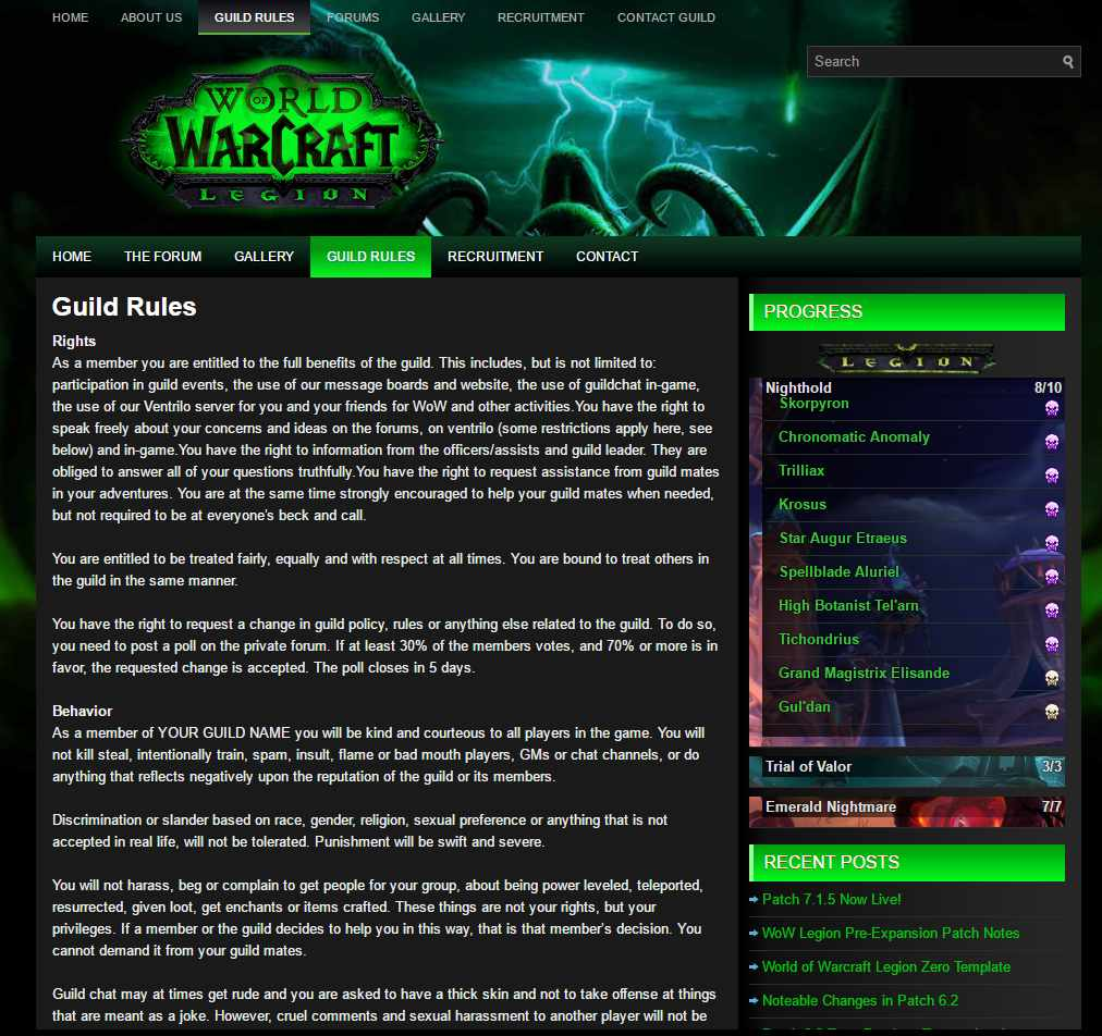 Guild Rules wow wordpress module