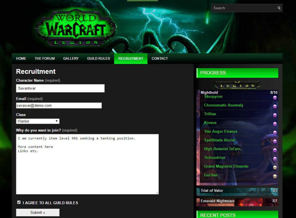 Guild Recruitment form for wordpress