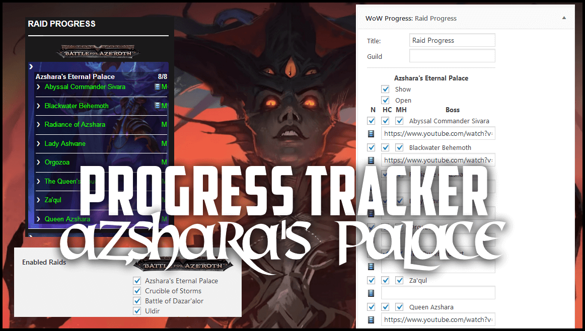 Plugin for Wordpress wow progress tracker and boss kill tracker full youtube and twitch support free download for your website.