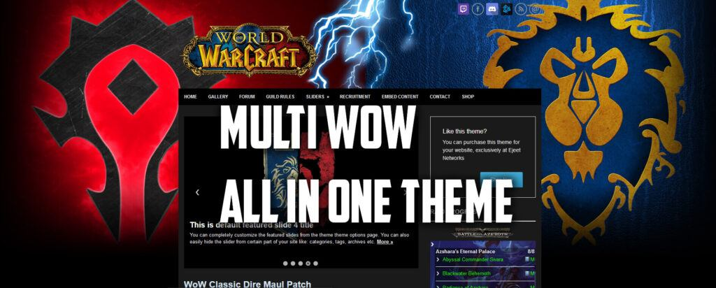 Multi WoW Horde and Alliance WP Theme